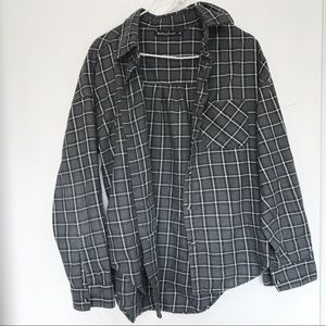 Brandy Melville gray plaid flannel button down